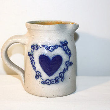 Salmon Falls Stoneware  Pitcher, Salt Glazed Pottery Creamer