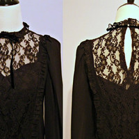 Vintage Lace and Crepe Goth Victorian Steampunk or Wedding Attire Dress Late 70s early 80s Sz S