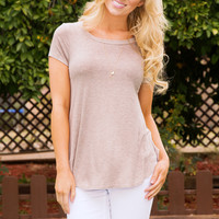 Easy Going Ribbed Top - Taupe