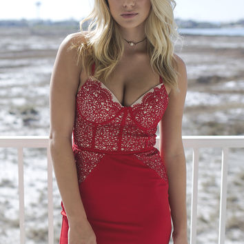 One World Red Lace Bustier Dress