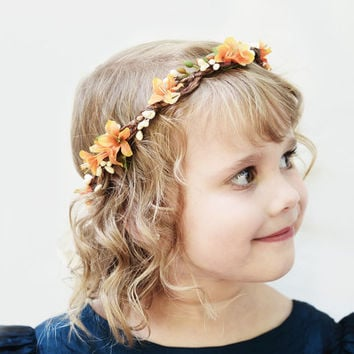 Orange and Ivory Flower Girl Crown - Flower Girl Headpiece, Flower Crown, Fall Wedding, Autumn, Hair Wreath, Floral Crown, Flower Circlet
