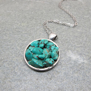 Antique silver disk necklace , turquoise necklace, friendship necklace,bridesmaid jewelry,unique gift