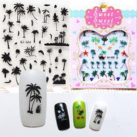 2016 New Creative 3D Nail Stickers Palm Trees Island Series Exotic Nail Art Decals DIY Manicure