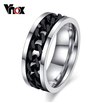 Vnox Spinner Black Chain Ring for Men Titanium Steel Metal Finger Jewelry
