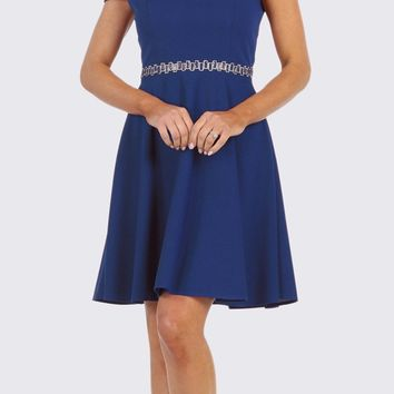 e3a7bcf0247 Cold-Shoulder A-Line Short Wedding Guest Dress Royal Blue