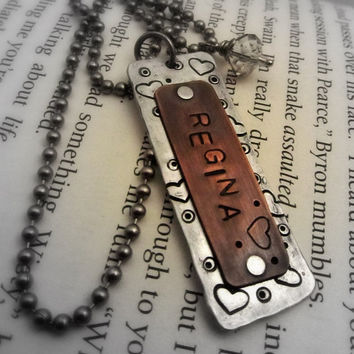 Personalized Hand Stamped Necklace Layered by FiredUpLadiesHammer