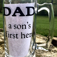 Fathers Day Beer Mug, Dad a son's first hero, Father's day gift, Dads Birthday Gift, Personalized beer mug