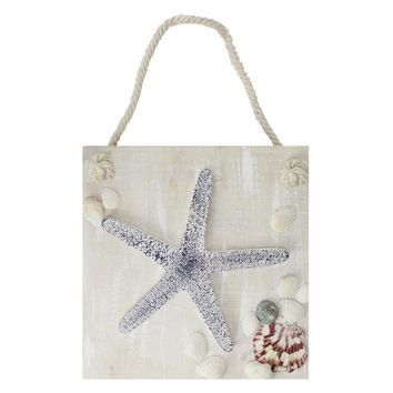 """10"""" Cape Cod Inspired Starfish Wall Hanging Plaque with Seashells"""