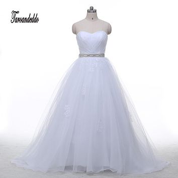 In Stock Vestido De Noiva Champagne Wedding Dress with Detachable Cap Sleeves Ball Gown Beading Sash Reals Bridal Dress