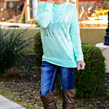 SEQUIN LOVE HOODIE IN MINT