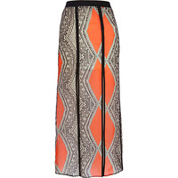 River Island Womens Red aztec print split front maxi skirt