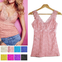 Sexy Women Sexy Lace Floral T-shirt Tank Tops Sleeveless Stretch Crochet Vest Blouse