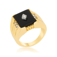 Kirk Black Onyx Statement Men Ring  | 0.8ct | Cubic Zirconia | 18k Gold