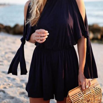 Black Cutout Shoulder Tie Cuff Keyhole Back Romper