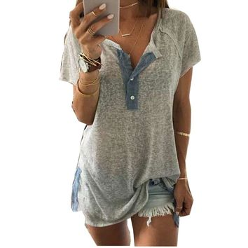 Clearance! Fashion Women blouse Loose Short sleeve Sexy V neck Casual Button Blouse Shirt Tank Tops #LSN