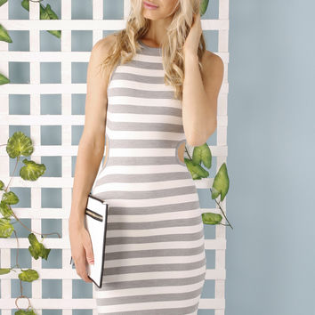 Lila Striped Bodycon Dress