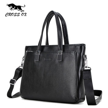 New Design Men's Briefcase Portfolio For Men Satchel Genuine Leather Shoulder Bags For Men 14' Laptop Bag