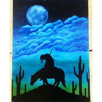 Indian on horse silhouette, last trail, end of the trail, canvas painting, Indian wall decor, blue cloud painting, medium size, acrylic art
