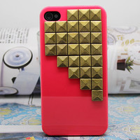 Red Hard Case Cover Antique Brass For iPhone 4,iPhone 4s