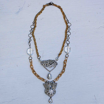 Vintage Art Deco Rhinestone Necklace Great Gatsby Vintage Rhinestones Necklace