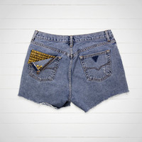 Studded Shorts / High Waisted Denim Shorts Cut Offs / 32 Waist / Hipster Urban Outfitters Style