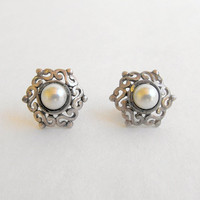 Petite Openwork Sterling Silver Faux Pearl Post Style Earrings Vintage Jewelry