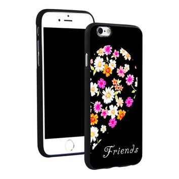 Flower Heart Best Friends BFF Case For Apple iPhone X 8 6 S 6S 7 Plus 5 5S SE Couple Lover Soft  Silicone Phone Cover