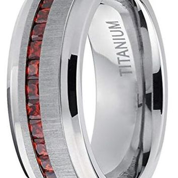 CERTIFIED 8mm Men's Eternity Titanium W/Red Simulated Garnet Cubic Zirconia Princess