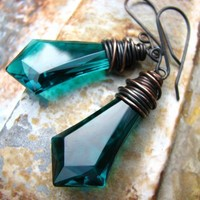 Empire  copper wire wrapped vintage emerald green by noblegnome