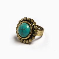 AndThat - Flora Turquoise Adjustable Ring (Antique Gold)