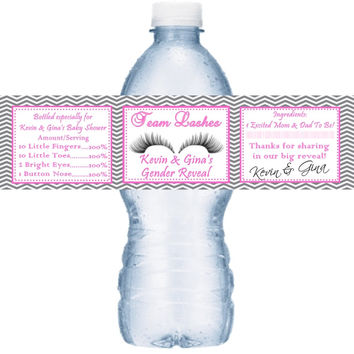 Team Lashes Baby Shower Personalized Water Bottle Labels