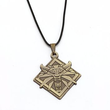 Leather Chain Metal Jewelry Necklace Games The Witcher 3 Sorcerer 3 Hunting Demon Pure Metal Wolf Head Choker Necklace Pendant