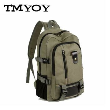 TMYOY Men Travel Backpack Medium Size Army Color Vintage Design Duffle Back Pack Casual Canvas Backpacks For Man Or Women AA510