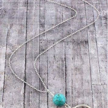 Turquoise Cross and Bead Necklace