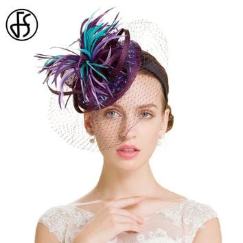 FS Elegant Women Wedding Purple Pillbox Hats With Veils Sinamay Brim Ladies Formal Cocktail Hat Accessories Chapeu Feminino