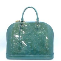 Authentic LOUIS VUITTON Monogram Vernis Alma MM M93628 Blue Galactic Handbag