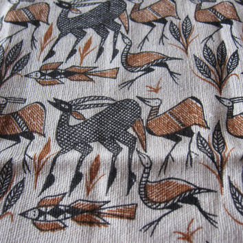 Vintage Fabric Remnant. Tribal Cave Painting. Animals.