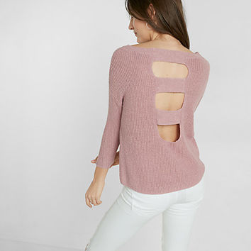 ladder back shaker knit pullover sweater