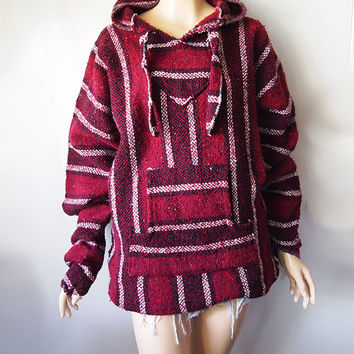 DRUG RUG // Vintage 90s Baja Hoodie Red Stripe Stoner Stash Sweater Mexican Festival Woven Jacket Unisex Large