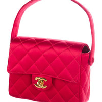 Quilted Satin Mini Square Flap Bag