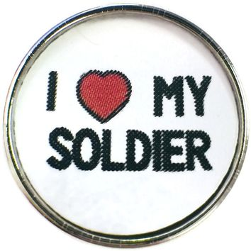 I Love My Soldier Military  18MM - 20MM Snap Charm New Item