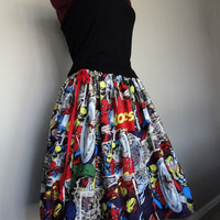 Comic Book Skirts, Avengers skirts, Marvel Comics Skirts, Superhero skirts, novelty skirts, tintiara skirts, womens skirts