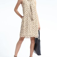 Animal Print Tie-Neck Shift Dress | Banana Republic