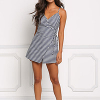 Navy Gingham Wrap Layered Romper