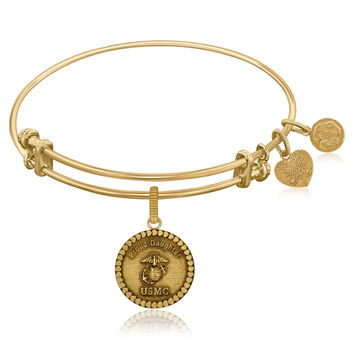 Expandable Bangle in Yellow Tone Brass with U.S. Marine Corps Proud Daughter Symbol