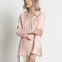 Vintage 90s Pale Pink Tunic Blouse with Rounded Collar and Tie Bell Sleeves | S