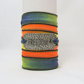 SILK WRAP Bracelet ~ FREEDOM Antiqued Silver Hammered Metal Word Band with Bird ~ Blue, Green, Yellow, Orange ~ Hand Dyed 100% Silk Ribbon