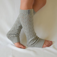 Machine knit grey leg warmers with button chunky leg warmers girly leg warmers boot socks yoga socks valentines day gifts birthday gifts