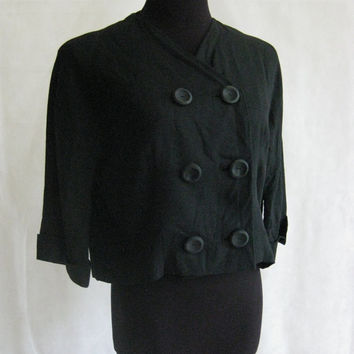 40s 50s Black Blazer, Vintage Vogue Paris Original Linen Textured Double Breasted Drop Shoulder Cropped Bolero Jacket Size S Small M Medium