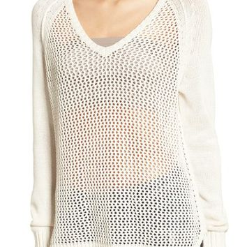 Roxy Open Knit Cotton Pullover | Nordstrom